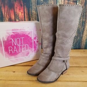 NOT RATED YOKO FAUX LEATHER MID CALF RIDING BOOTS